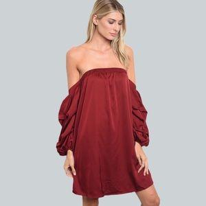 Off the sleeve - long ruffled sleeve - shift dress
